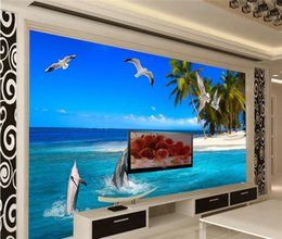 Wholesale Vintage Beach Painting - Modern Background Large Painting Coco Beach Island Dolphin Murales De Pared 3d Wallpaper Hotel Badroom Mural for Living Room