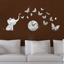 Wholesale Wholesale Fashion Furniture Sets - Wholesale-top fashion hot baby mirrored acrylic wall clock modern furniture design living room mirror stickers background free shipping