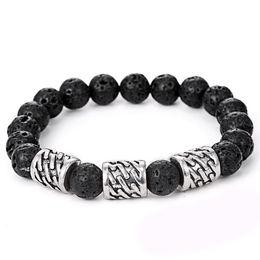 Wholesale Free Beaded - 2017 new Volcano bracelets for men statement jewelry Fashion Wholesale Natural lava volcano stone 10mm Beaded Bracelet bangles Free shipping