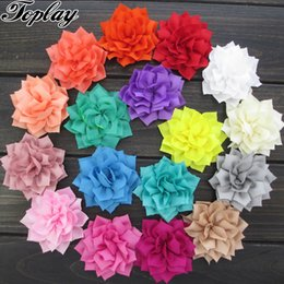 "Wholesale Girl Fabric Flower Hairband - Toplay 40pcs  Lot 3 ""Poinsettia Winter Flower Handmade Fabric Flowers For Girls Hair Accessories Boutique Hairband Flower"