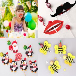 Wholesale Wholesale Mustache Candy - 50pcs lot Mustache Bee Butterfly Ladybug Candy Stick Lollipop Decoration Paper Card Gift Package Wedding Party Decor