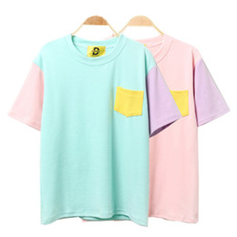 Wholesale Neck Collar Support - S11-Short-sleeved T-shirt female 2017 new round neck collar color pocket tee loose compassionate shirt , support drop shipping