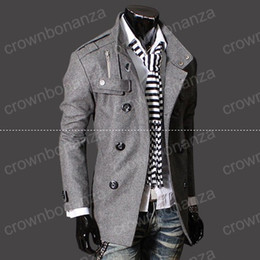 Wholesale Gray Trench Coat Men - Fashion Stylish Men's Trench Coat, Winter Jacket ,mens mid-long slim Double Breasted Coat ,Overcoat woolen Outerwear M-XXXL NEW ARRIVE!hight