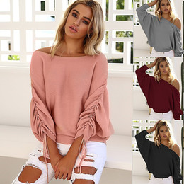 Wholesale Batwing Sleeve Knit - Autumn New Style Women's Tops Tees Women's Knits off-the-shoulder Sweater Draped Design 4 Colors Free Shipping