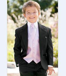 Wholesale Kids Zipper Ties - Wholesale- Custom Made Boy Tuxedos Notch Lapel Children Suit 22 Styles Kid Wedding Prom Suits ( Jacket+Vest+Pants+Tie +Shirt ) NH6