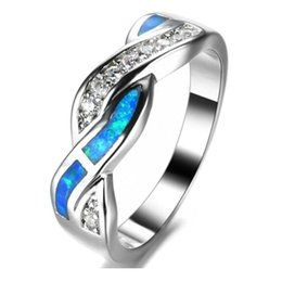 Wholesale Wholesale Womens Diamond Rings - Fashion Ocean Blue Fire Opal Cross White CZ Ring Men Womens Weeding Band Size 5-10