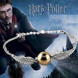 Wholesale Sterling Silver Golden - Hot Selling Bracelets Bangles High quality Movie Harry Potter Bracelet Quidditch Golden Snitch Pocket Bracelet Wings