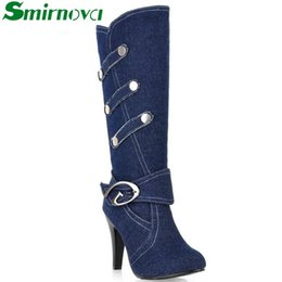 Wholesale Women Denim Wedges - Wholesale-2016 New Fashion Boots Spring Autumn Denim Knee High Boots High Heels Buckle Strap Metal decoration Ladies Shoes