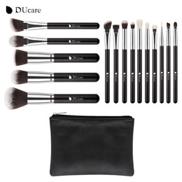 Wholesale Goat Bags - Ducare 15pcs Makeup Brushes Set Goat Hair Synthetic Hair Make Up Brush Professional Cosmetics Make Up Tools Kit with Bag
