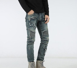 Wholesale Tight Cropped Jeans - Top Famous Distressed Ripped Biker Stretch Jeans stretch Demin jeans Hiphop Cropped Pants with Extreme Straight Tight Plus size 29~42