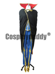 Wholesale Code Geass Lelouch Cosplay Costume - Code Geass Lelouch Cosplay Costume Black Coat+Blue Suit M006