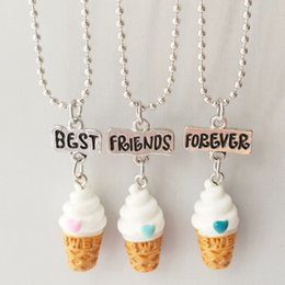 Wholesale Ice Cream Hearts - BFF Best Friends Forever Heart Ice Cream Pendant Necklace for Women Kids Jewelry 3 set drop ship 161820