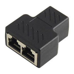 Wholesale Copper Network Cable - Wholesale- 1pc Plastic Copper Core 1 To 2 LAN RJ45 Connector Network Cable Splitter Extender Plug Adapter Connector Black