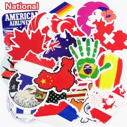 Wholesale Laptop Logo Stickers - 50 Pcs National Flags & Map Airline Logo Travel Luggage Stickers For Skateboard Laptop Toy DIY Sticker Car Bike Waterproof Decal