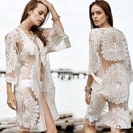 Wholesale White Ruffle Lace Bikini - Fashion Bohemia Lace Women Blouse long Sleeve V Neck Sexy Short Shirts Women Tops Beach Bikini Cover Up