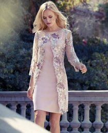 Wholesale Lace Jackets For Weddings - Elegant With Lace Jacket Tea Length Mother Of The Groom Dresses Square Long Sleeve Satin For Wedding Evening Gowns