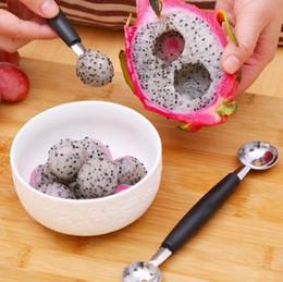 Wholesale Dig Tool - Watermelon Fruit Dig Spoon Fruit Carving Tools Ball Slicer Peeler dig balls fruit ice cream ballers scoop melon baller KKA1550