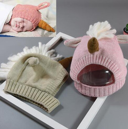 Wholesale anime beanies - 2 Colors Fashion Anime Cartoon Unicorn Beanies Hat Kids Autumn Winter Warm Knitted Caps for Children Christmas Party Hats CCA7435 30pcs