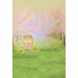 2019 пейзаж Цифровая живопись фоны детские красивые весенние пейзажи зеленые пастбища розовые цветы дети мультфильм фонов для фотостудии скидка пейзаж
