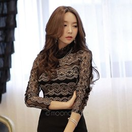 Wholesale Evening Blouses - New 2017 Women's Lace Blouse long-sleeve Basic Shirts Princess Shirts For Evening Party Female Tops