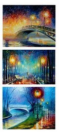 Wholesale Art Abstract Painting Oil Lover - Color painting The trees Street lamp Lovers bridge rain,Pure Handpainted ART Oil Painting On High Quality Canvas,customized size DHz