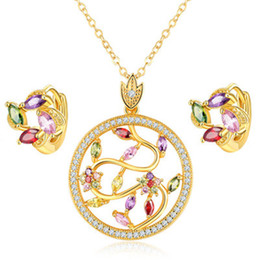 Wholesale Necklace Sparkling Earrings - Luxury Four Designs Sparkling Necklace And Earring Set Crystal Jewelry Cubic Zirconia Stone 18K Real Gold Jewelry Set