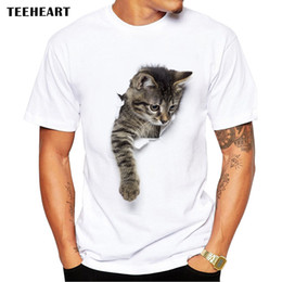 Wholesale Short Hooded T Shirt Men - Wholesale- TEEHEART 3D Cute Cat T-shirts Women Summer Tops Tees Print Animal T shirt Men o-neck short sleeve Fashion Tshirts Plus Size
