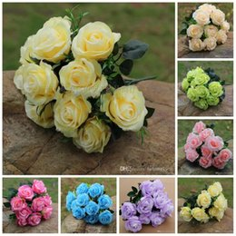 Wholesale Photographic Props - 11 Heads Rose Artificial Flower Silk Flowers Photographic Props Fashion Simulation Bouquet For Wedding Factory Wholesale 8 7cy R