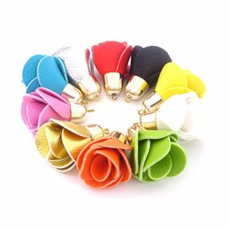 Wholesale Wholesale Gold Tassel Charms - Fashion 25pcs per lot PU Flower Tassel Pendants For Earrings Necklace Keychain Making Bag Charms Diy Accessories