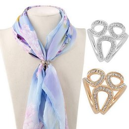Wholesale Jewelry Holders Wholesale China - Gold Silver Flowers Scarf Buckle Wedding Brooch Christmas Pins Crystal Holder Silk Scarf Jewelry DHL Free Shipping