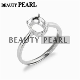 Wholesale Cabochons 8mm - 5 Pieces Ring Setting for 6*8mm Oval Cabochons or Faceted Gemstones 925 Sterling Silver Ring Base