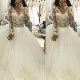 Wholesale China Custom Made Lace Dress - Vintage Lace Ball Gown Wedding Dresses Tulle 2017 Long Sleeved V-Neck Custom Made Bridal Gowns Vestidos De Novia Imported China