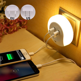 Wholesale Emergency Home Phone - Wholesale- LED Light With Light Sensor Usb Wall Charger For Phone Laptop Tablet Charging Wall Night Lamp Bedside Home Trabel AC 110V 220V