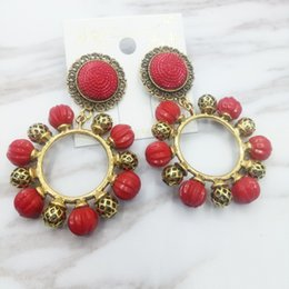 Wholesale Vintage Pearl Dangle Earrings - vintage 2017 fashion women's wedding Earrings brand designer Earrings Rhinestone Gypsy SEXY women's Jewelry clubbing Earrings red -D685