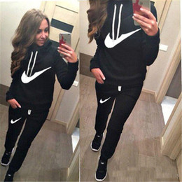 Wholesale Black Femme - Hot Sale! New Women active set tracksuits Hoodies Sweatshirt +Pant Running Sport Track suits 2 Pieces jogging sets survetement femme clothes