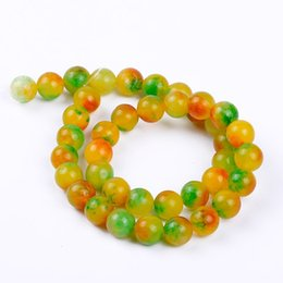 Wholesale Yellow Jade Beads Bracelet - 1pack lot AAA+ 10mm High quality red yellow green Chalcedony Jasper Round Jade natural Stone Beads for DIY Bracelet Making
