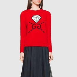 Wholesale G Double Neck - Autumn winter new double-G diamond letter graffiti sweatshirts space cotton couple sets of head sweater red double-lay women women jumper