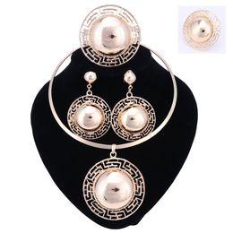 Wholesale Indian Choker Necklace Set - Brand Enamel Jewelry Fashion Choker Pendant Earrings Ring Set Dubai Gold Necklace Set For Women Girl torques Christmas Gift