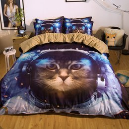 Wholesale Full Quality Bedding Set - Top Quality Galaxy Space Cat Printing Bedding Set Twin Full Queen King Size Fabric Cotton Duvet Covers Pillow Shams Comforter Animal Fashion