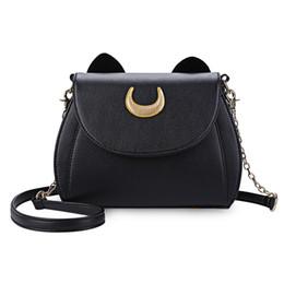Wholesale Crescent Bags - Cat Shape Crescent Detachable Strap Rivet Shoulder Messenger Bag for Women