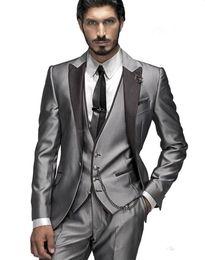 Wholesale Three Button Formal Vest - Custom Made Groom Tuxedos Official Custom 2016 Wedding Formal Men Suits Bridegroom Business Suit(Jacket+Pants+Vest+Tie)