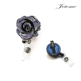 Wholesale Nurse Id - 100PCS Lot China Wholeasale New Colorful Sparkly Rose Rhinestone Retractable Badge Reel  Rhinestone ID Badge Holder   Nurse Retractable