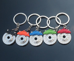 keys auto sales Promo Codes - 2016 New Creative Hot Sale Auto Parts Model zinc alloy Motorcycle Car Disc Brake Shape Keychain Keyring Key Chain Ring Fob