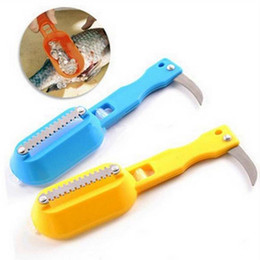 Wholesale Scale Shaver Kitchen Tools - hot 2017 new kitchen tool cleaning fish skin steel fish scales brush shaver Remover Cleaner Descaler fishing tools knife free shipping