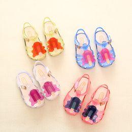 Wholesale Summer Sandals For Baby Girls - 2017 New Kids Mini Melissa Jelly Sandals For Baby Girls ice cream Children Summer Cute Cartoon Beach Shoes Infantil Sandalia