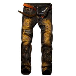 Wholesale Vintage Mens Plaid Pants - Fashion Vintage Mens Ripped Jeans Pants Slim Fit Distressed Hip Hop Denim Joggers Male Novelty Streetwear Jean Trousers