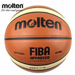 Leder geschmolzen online-Offizielle Größe 7 geschmolzene GG7X Basketball PU Leder Basketball Ball Outdoor Indoor Training Ballon frei mit Mesh + Nadel