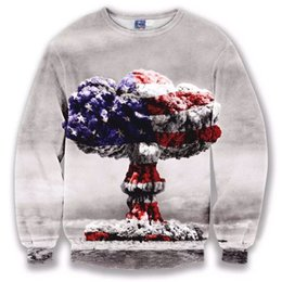 Wholesale American Flag Hoodies - Wholesale- 2016 New Fashion Women Men 3D hoodies sweatshirts Casual American flag clown cloud Funny 3d Tee Tops