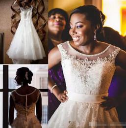 Wholesale Ivory Lace Wholesale Wedding Gowns - 2018 New O Neck Beading Lace Wedding Dress custom Made Plus Size Vestidos De Novia