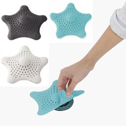 Wholesale Rubber Sink - Hair Catcher Sink Rubber Sink filter Bathroom Starfish Drain Strainer Hair Stopper 4 colors PVC Anti-clogging Shower Cover Sucker Free DHL